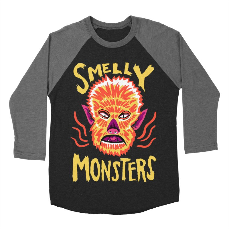 Smelly Monsters - Wolf Man has Bad Breath Men's Baseball Triblend T-Shirt by Cheap Chills Fan Club