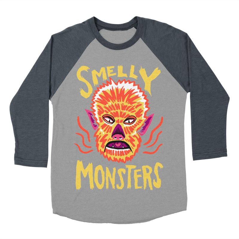Smelly Monsters - Wolf Man has Bad Breath Men's Baseball Triblend Longsleeve T-Shirt by Cheap Chills Fan Club