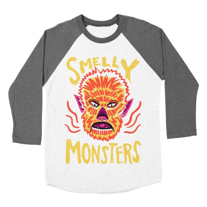 Smelly Monsters - Wolf Man has Bad Breath Men's Baseball Triblend Longsleeve T-Shirt by Cheap Chills Fan Club