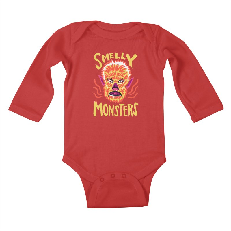 Smelly Monsters - Wolf Man has Bad Breath Kids Baby Longsleeve Bodysuit by Cheap Chills Fan Club