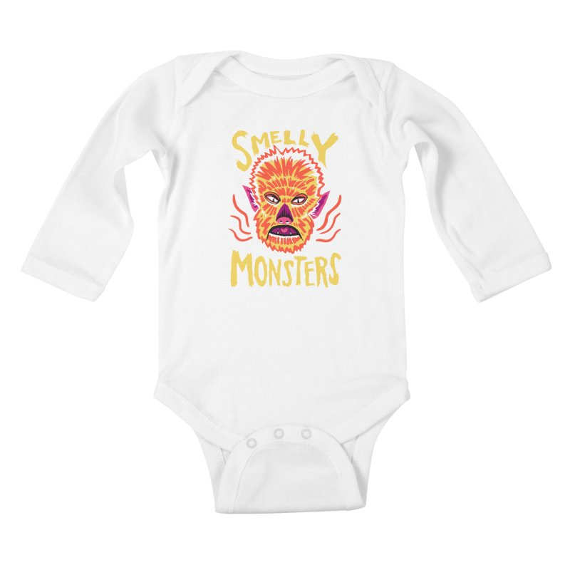 Smelly Monsters - Wolf Man has Bad Breath Kids Baby Longsleeve Bodysuit by Cheap Chills Fan Club