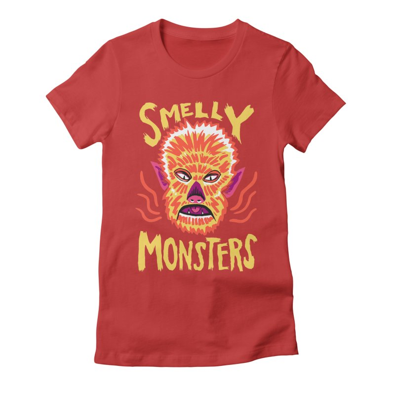 Smelly Monsters - Wolf Man has Bad Breath Women's Fitted T-Shirt by Cheap Chills Fan Club