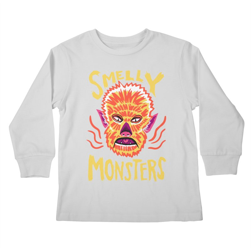 Smelly Monsters - Wolf Man has Bad Breath Kids Longsleeve T-Shirt by Cheap Chills Fan Club