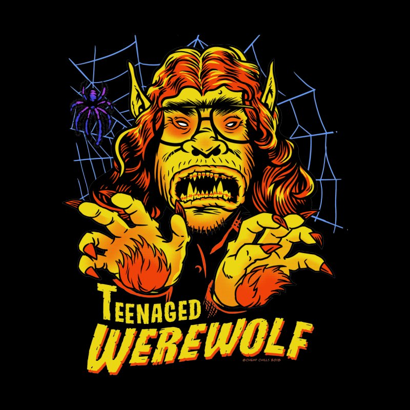 Teenaged Werewolf - vintage style adolescent creep Kids Longsleeve T-Shirt by Cheap Chills Fan Club
