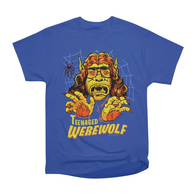 Teenaged Werewolf - vintage style adolescent creep Women's Heavyweight Unisex T-Shirt by Cheap Chills Fan Club
