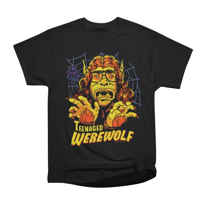 Teenaged Werewolf - vintage style adolescent creep Men's Heavyweight T-Shirt by Cheap Chills Fan Club