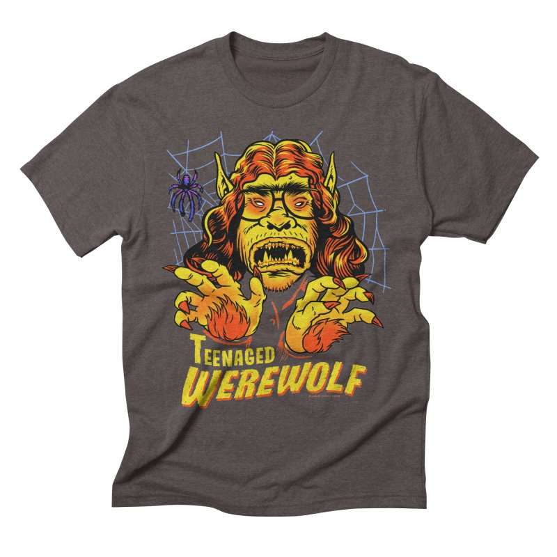 Teenaged Werewolf - vintage style adolescent creep Men's Triblend T-Shirt by Cheap Chills Fan Club