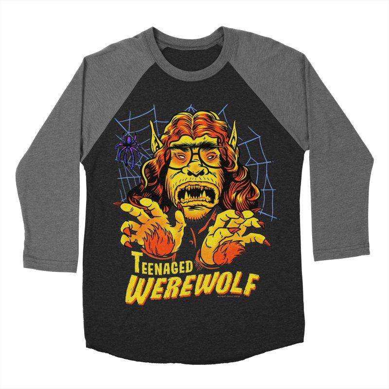 Teenaged Werewolf - vintage style adolescent creep Men's Baseball Triblend Longsleeve T-Shirt by Cheap Chills Fan Club