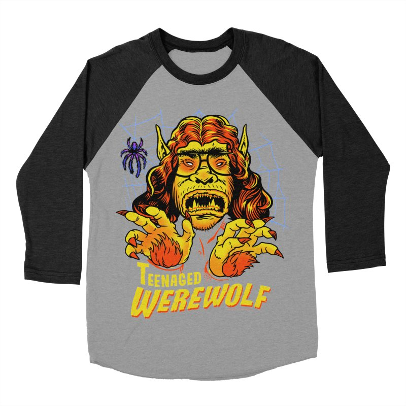 Teenaged Werewolf - vintage style adolescent creep Men's Baseball Triblend Longsleeve T-Shirt by Cheap Chills Fan Club