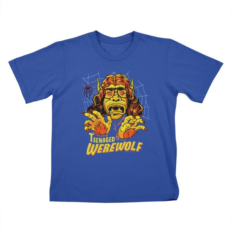 Teenaged Werewolf - vintage style adolescent creep Kids T-Shirt by Cheap Chills Fan Club