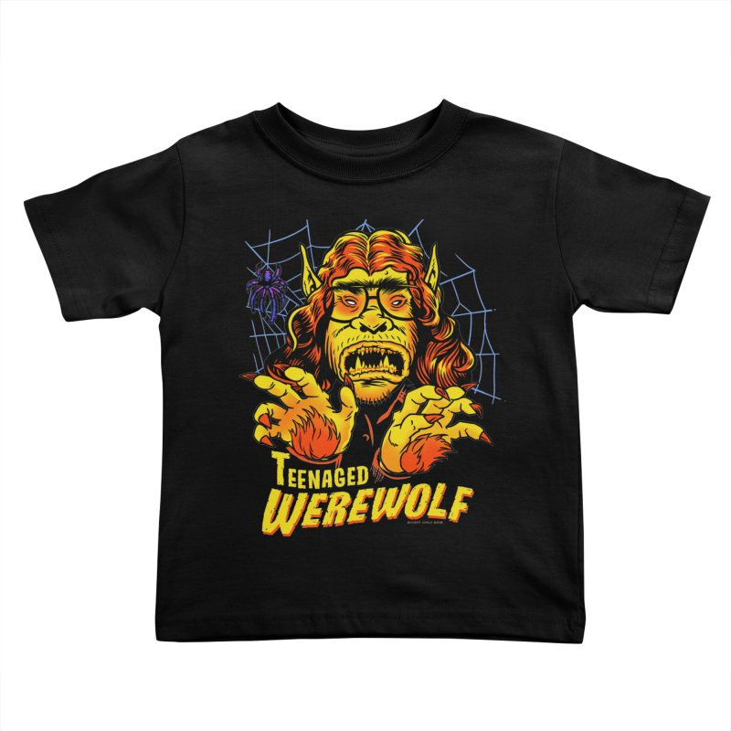 Teenaged Werewolf - vintage style adolescent creep Kids Toddler T-Shirt by Cheap Chills Fan Club