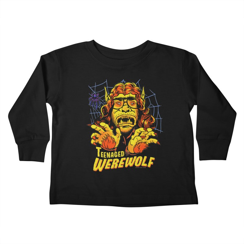 Teenaged Werewolf - vintage style adolescent creep Kids Toddler Longsleeve T-Shirt by Cheap Chills Fan Club
