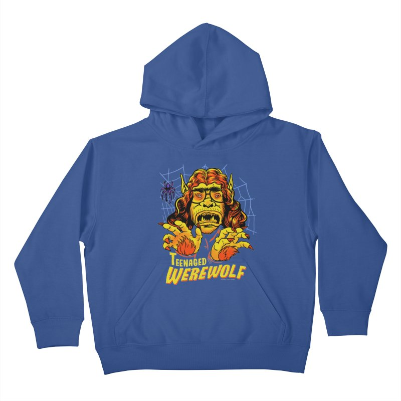 Teenaged Werewolf - vintage style adolescent creep Kids Pullover Hoody by Cheap Chills Fan Club