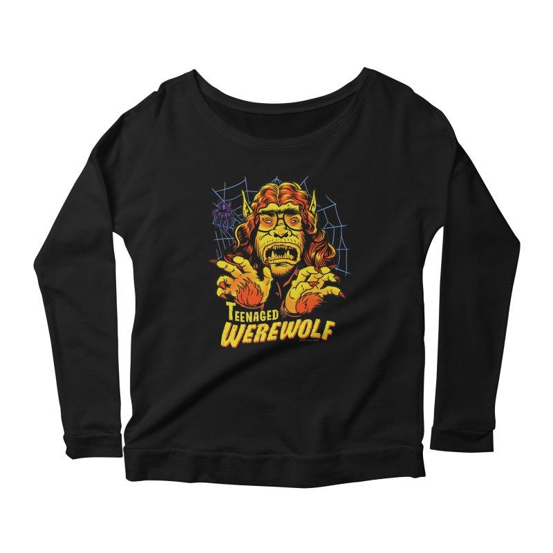 Teenaged Werewolf - vintage style adolescent creep Women's Scoop Neck Longsleeve T-Shirt by Cheap Chills Fan Club