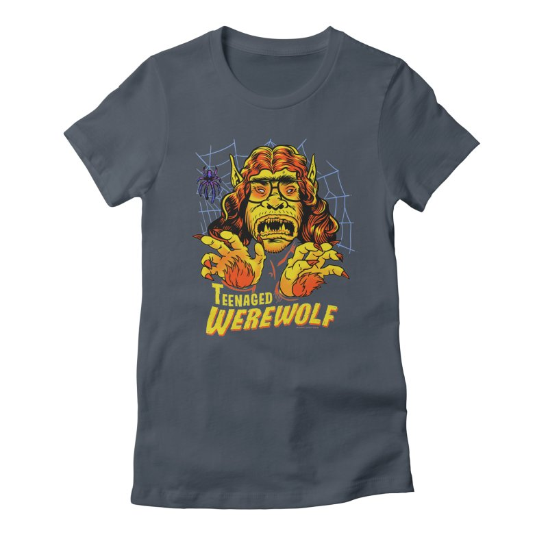Teenaged Werewolf - vintage style adolescent creep Women's Fitted T-Shirt by Cheap Chills Fan Club