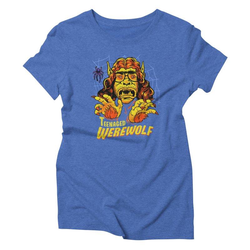 Teenaged Werewolf - vintage style adolescent creep Women's Triblend T-Shirt by Cheap Chills Fan Club