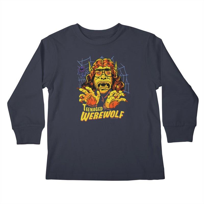 Teenaged Werewolf - vintage style adolescent creep Kids Longsleeve T-Shirt by Cheap Chills Fan Club