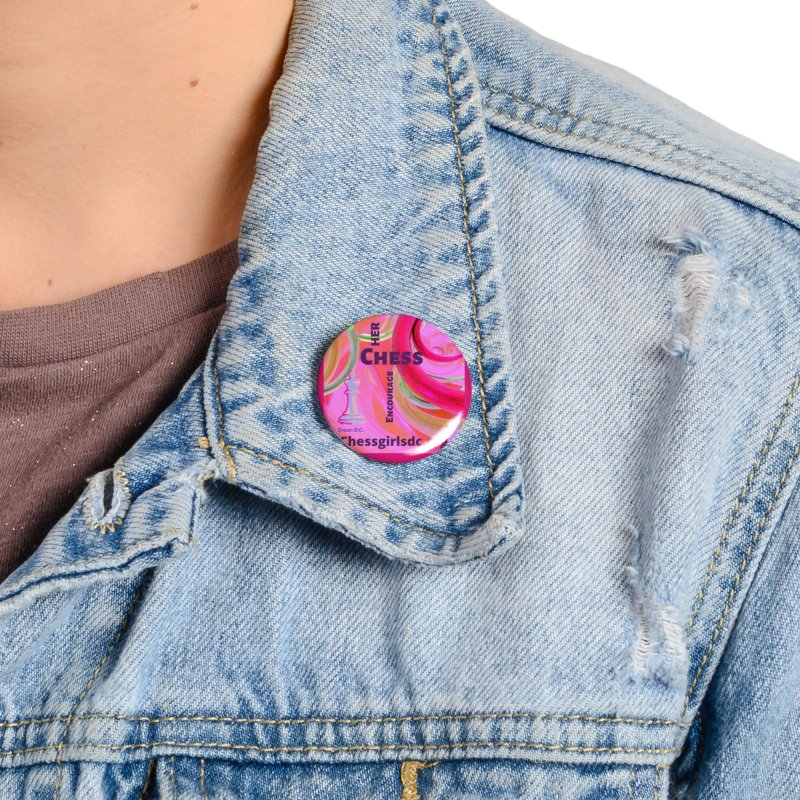 pink swish Accessories Button by Chess Girls DC's Spirit Shop