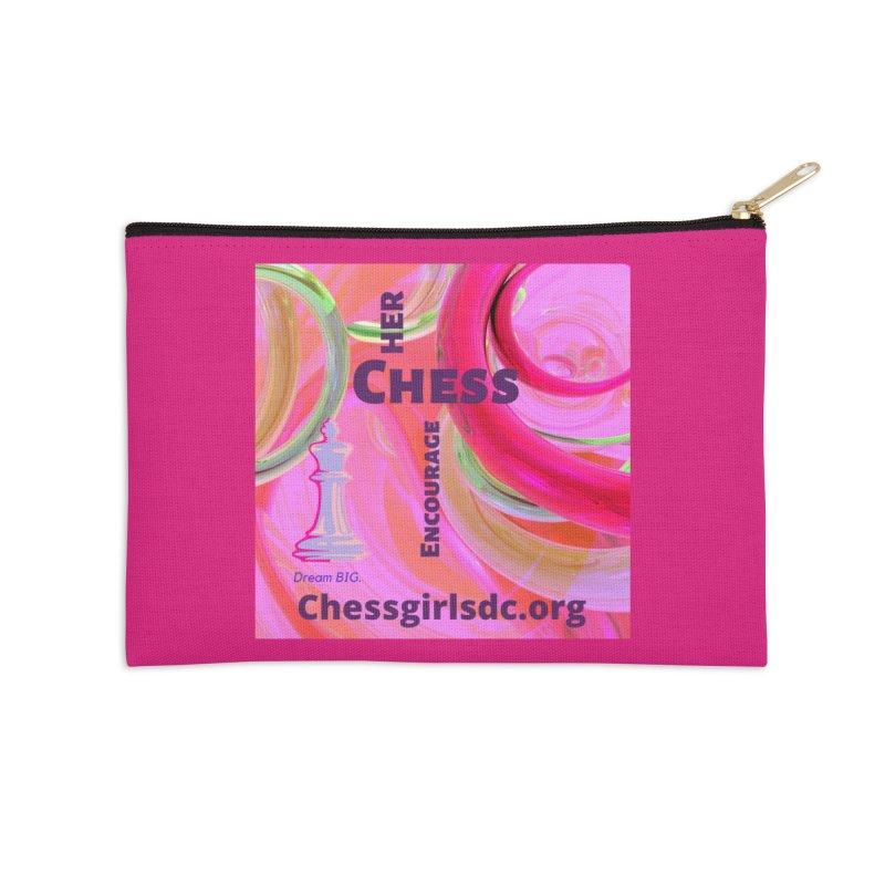 pink swish Accessories Zip Pouch by Chess Girls DC's Spirit Shop