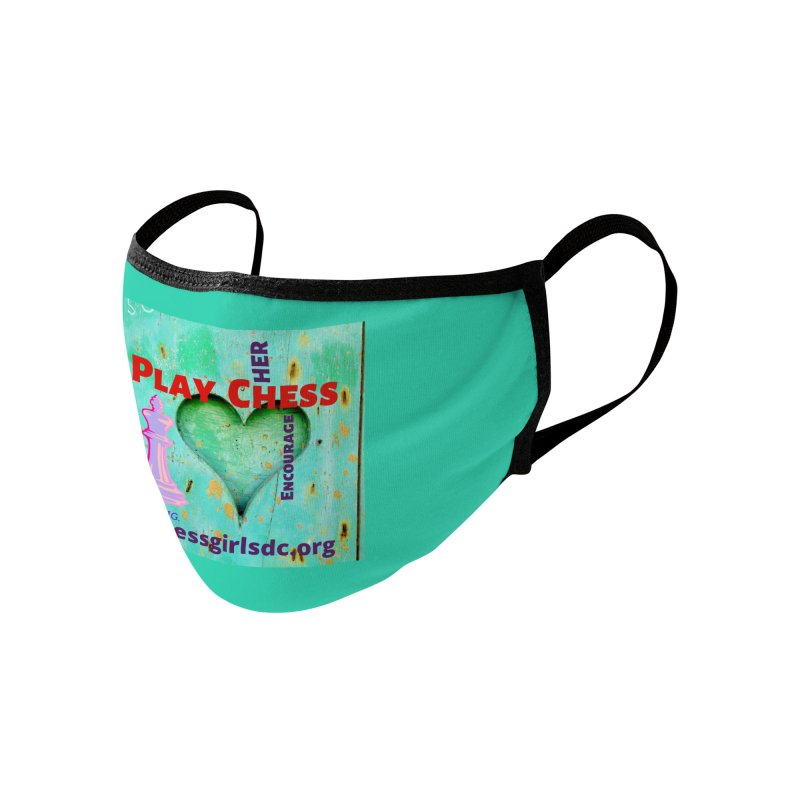 Teal heart Accessories Face Mask by Chess Girls DC's Spirit Shop