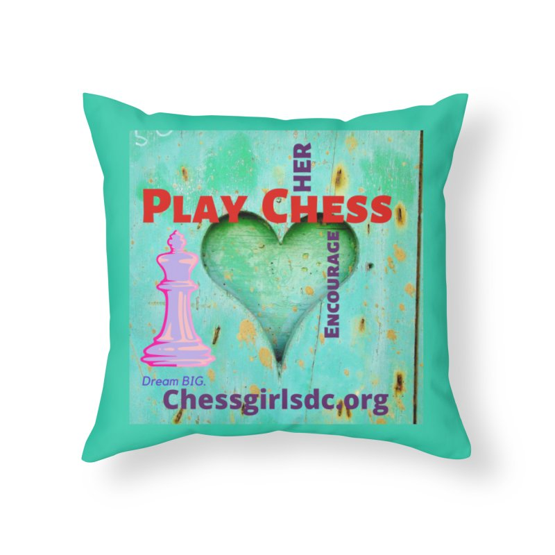 Teal heart Home Throw Pillow by Chess Girls DC's Spirit Shop