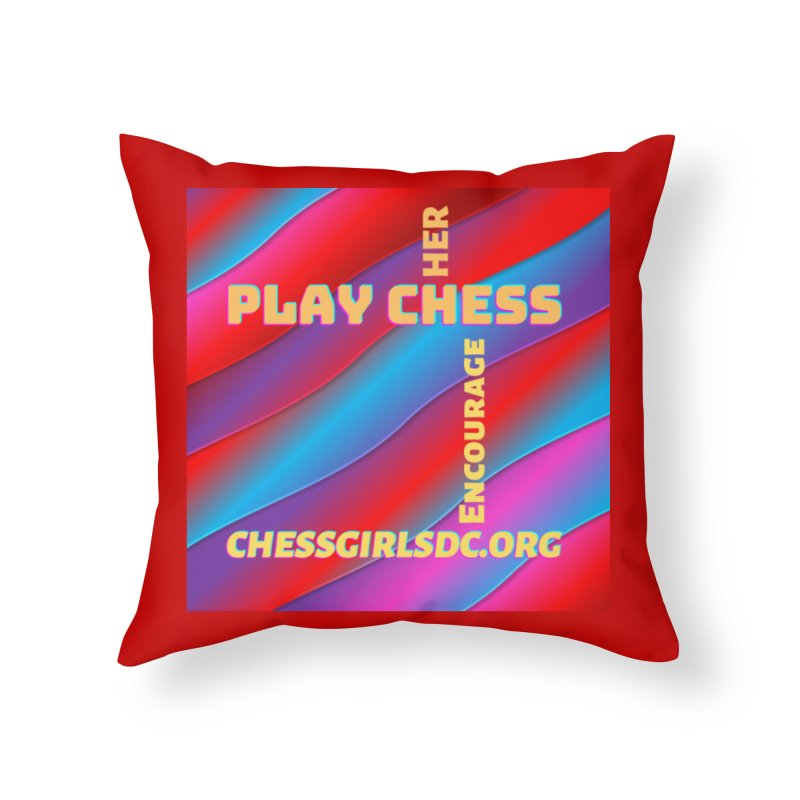 Red Home Throw Pillow by Chess Girls DC's Spirit Shop