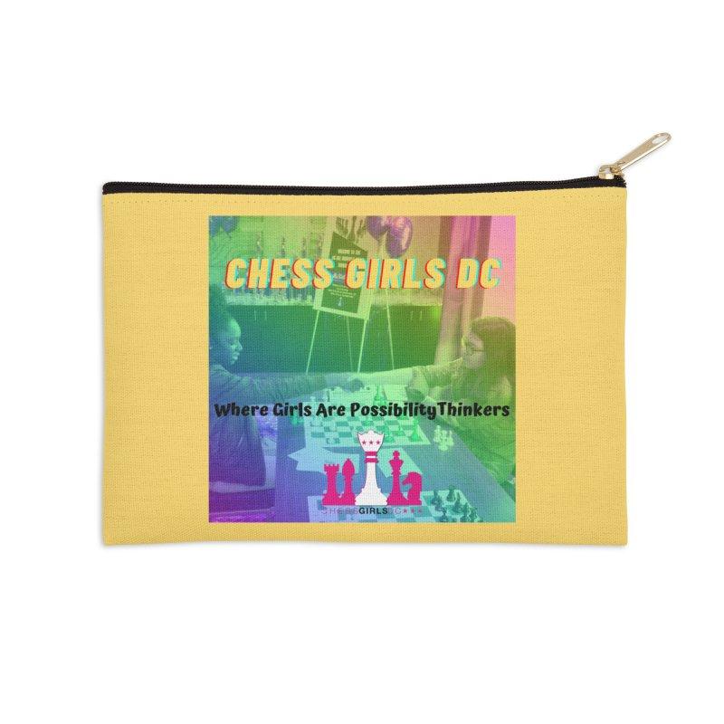 Rainbow Yellow Accessories Zip Pouch by Chess Girls DC's Spirit Shop