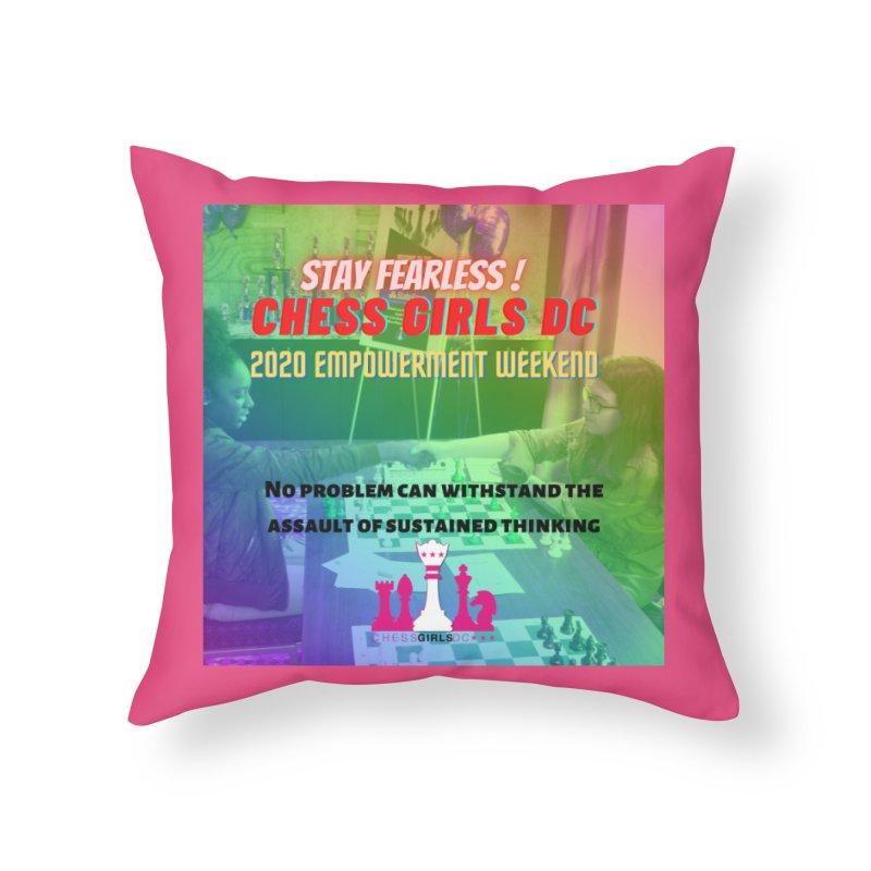 2020 Girls Chess tournament Home Throw Pillow by Chess Girls DC's Spirit Shop
