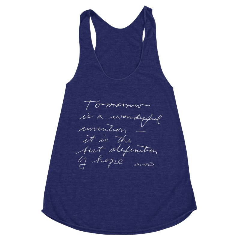 Tomorrow is a Wonderful Invention by Art Paul Women's Racerback Triblend Tank by Design Museum of Chicago