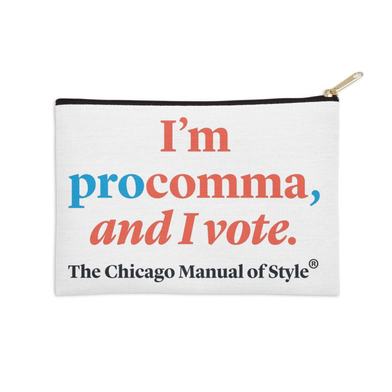 VOTE FOR COMMA Accessories Zip Pouch by Chicago Manual of Style