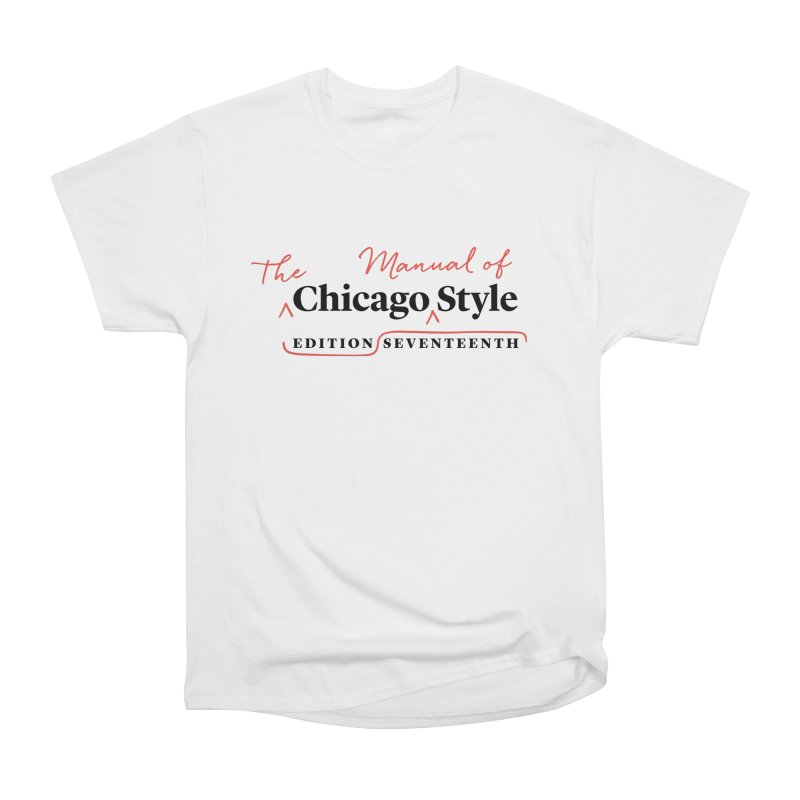 Chicago Style, Black + Red / Men's & Kids' Apparel Men's Heavyweight T-Shirt by Chicago Manual of Style