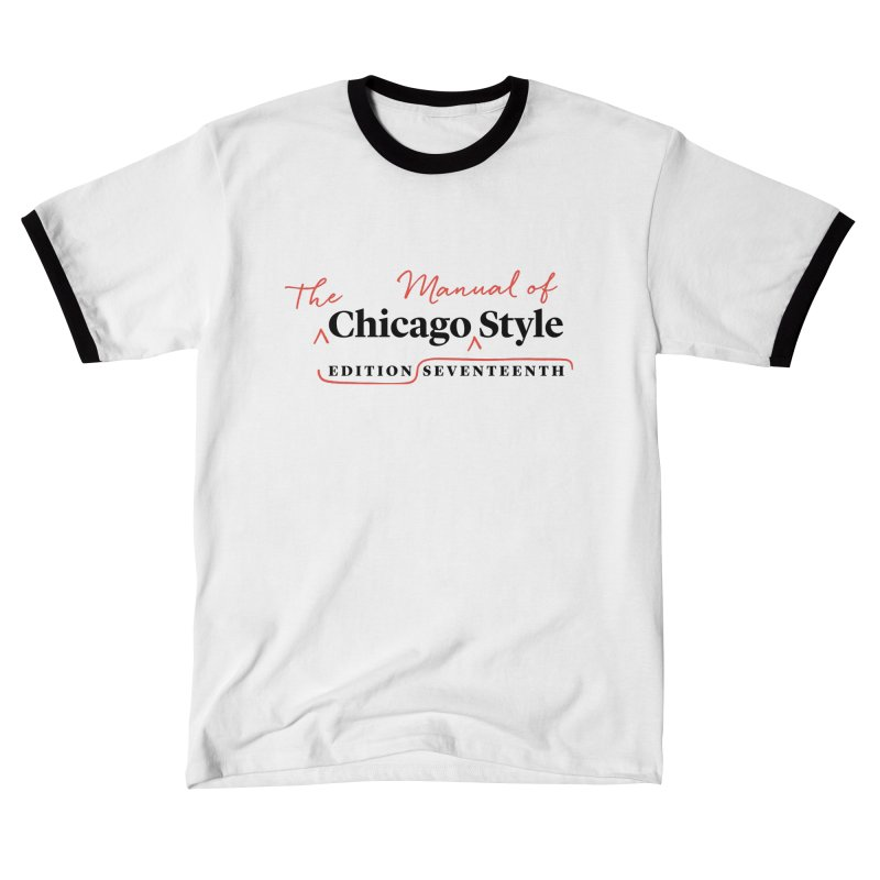 Chicago Style Copyedit, Black + Red/ Men's and Kids Men's T-Shirt by Chicago Manual of Style