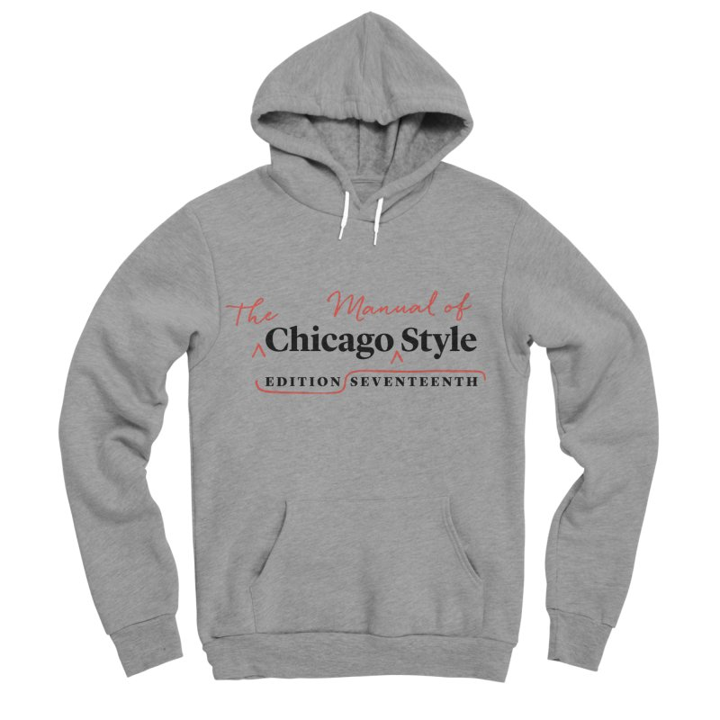 Chicago Style Copyedit, Black + Red/ Men's and Kids Men's Sponge Fleece Pullover Hoody by Chicago Manual of Style