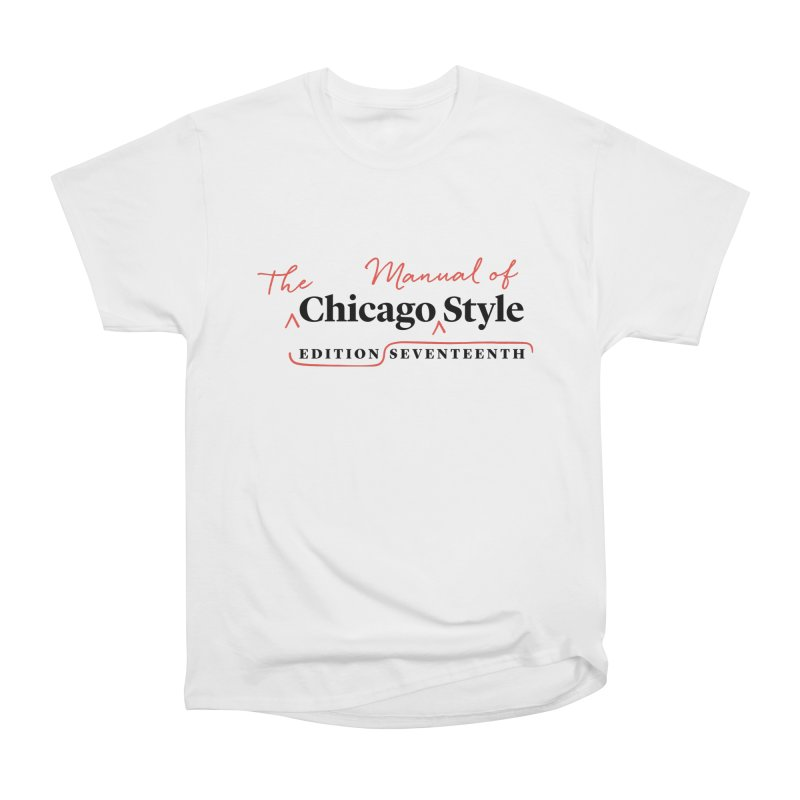Chicago Style, Black + Red/ Men's and Kids Men's Heavyweight T-Shirt by Chicago Manual of Style