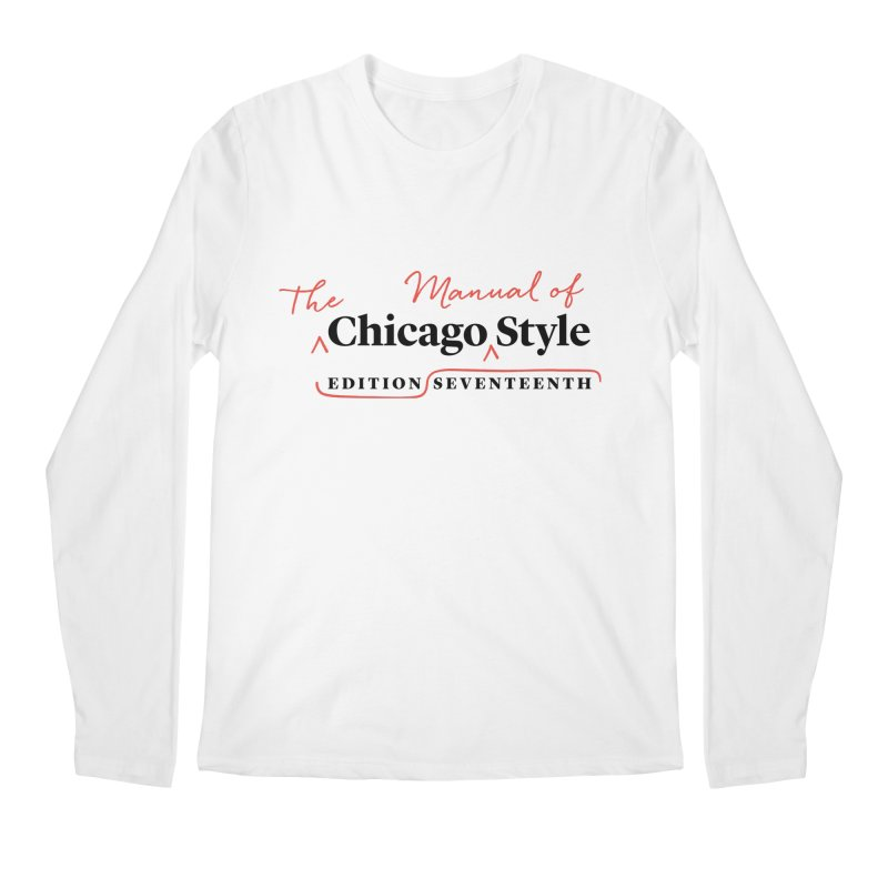 Chicago Style, Black + Red/ Men's and Kids Men's Regular Longsleeve T-Shirt by Chicago Manual of Style