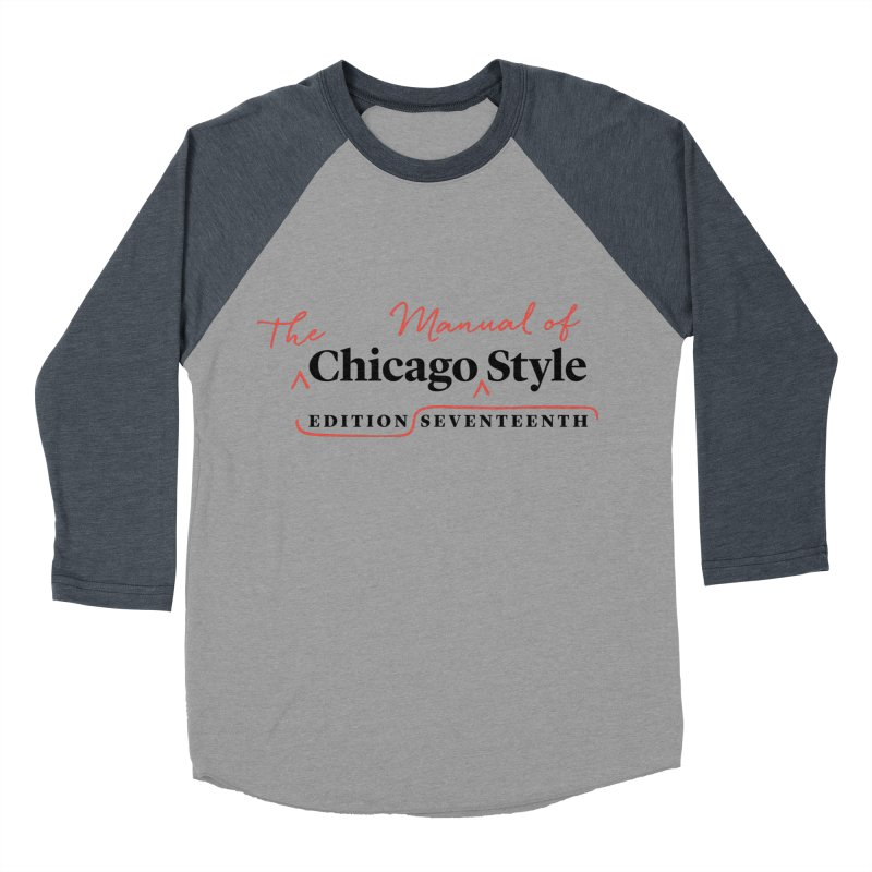 Chicago Style Copyedit, Black + Red/ Men's and Kids Men's Baseball Triblend Longsleeve T-Shirt by Chicago Manual of Style