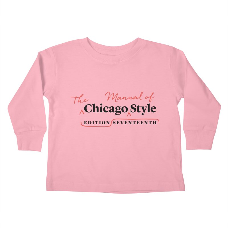 Chicago Style, Black + Red/ Men's and Kids Kids Toddler Longsleeve T-Shirt by Chicago Manual of Style