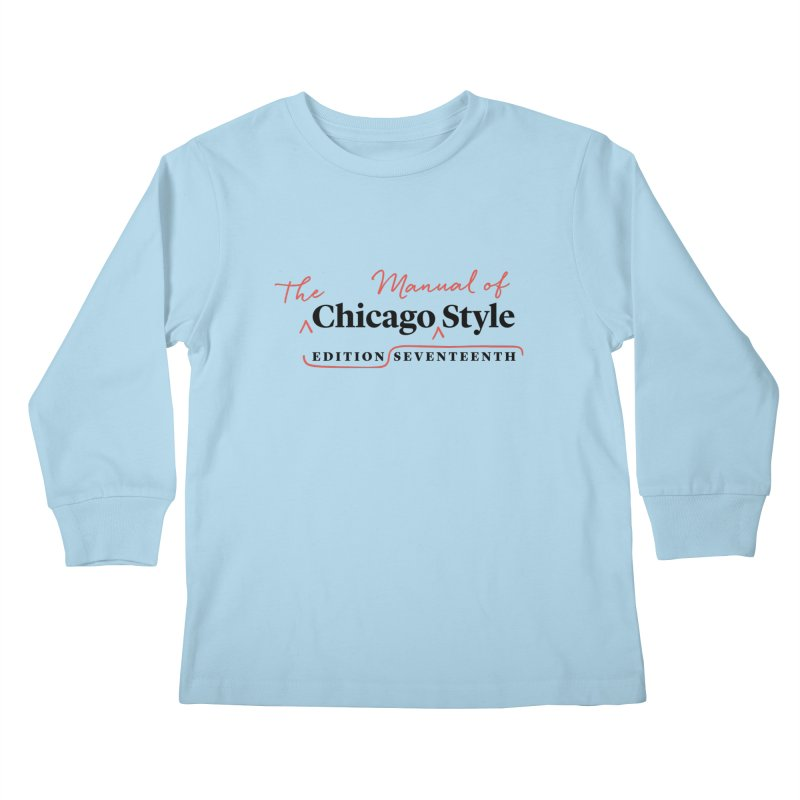Chicago Style Copyedit, Black + Red/ Men's and Kids Kids Longsleeve T-Shirt by Chicago Manual of Style