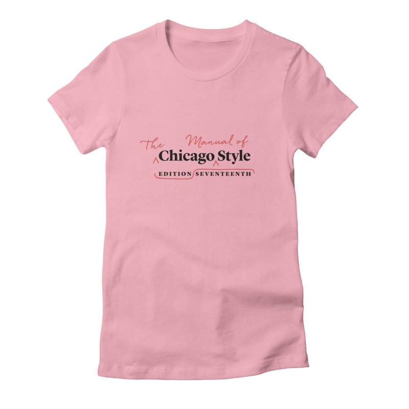 Chicago Style Copyedit, Black + Red / Women's Apparel Women's Fitted T-Shirt by Chicago Manual of Style