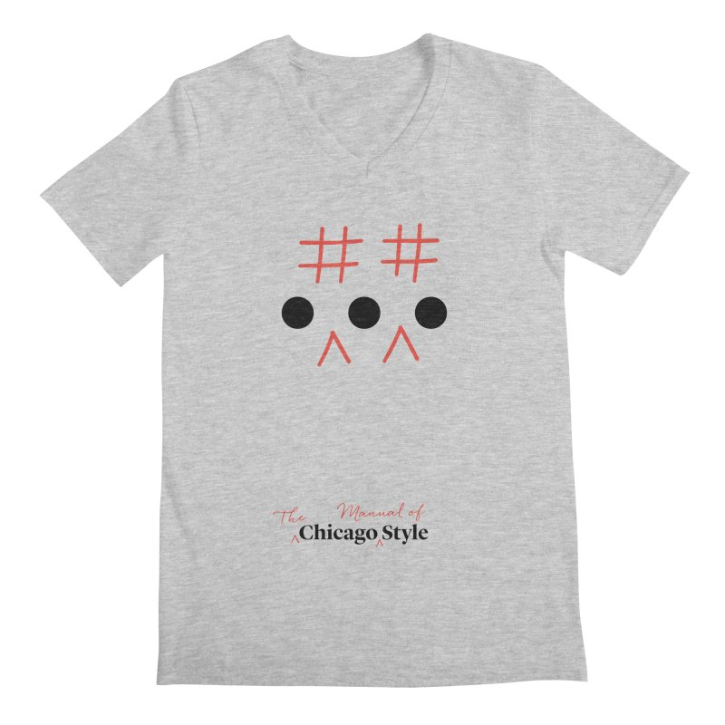 Chicago-Style Ellipsis, Black + Red, Adults' Apparel Men's V-Neck by Chicago Manual of Style