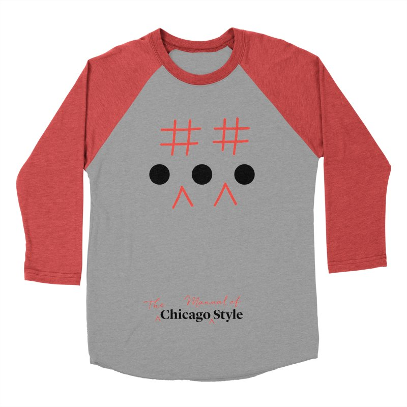 Chicago-Style Ellipsis, Black + Red, Adults' Apparel Women's Baseball Triblend Longsleeve T-Shirt by Chicago Manual of Style