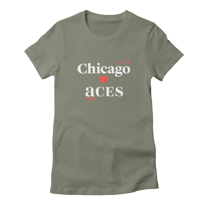 Chicago Hearts ACES 2018, Red + White Women's Fitted T-Shirt by Chicago Manual of Style