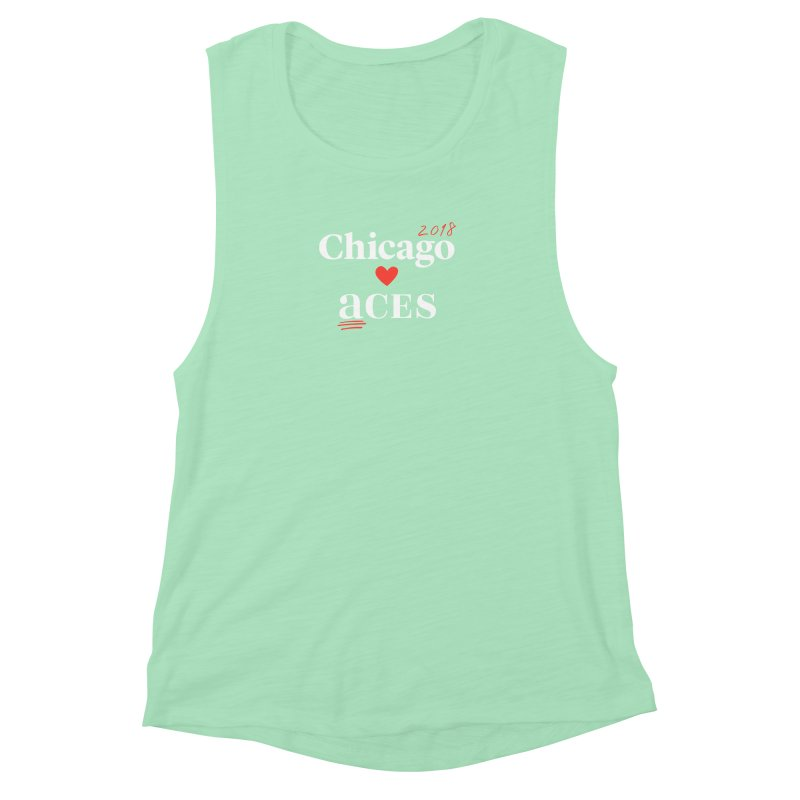 Chicago Hearts ACES 2018, Red + White Women's Muscle Tank by Chicago Manual of Style