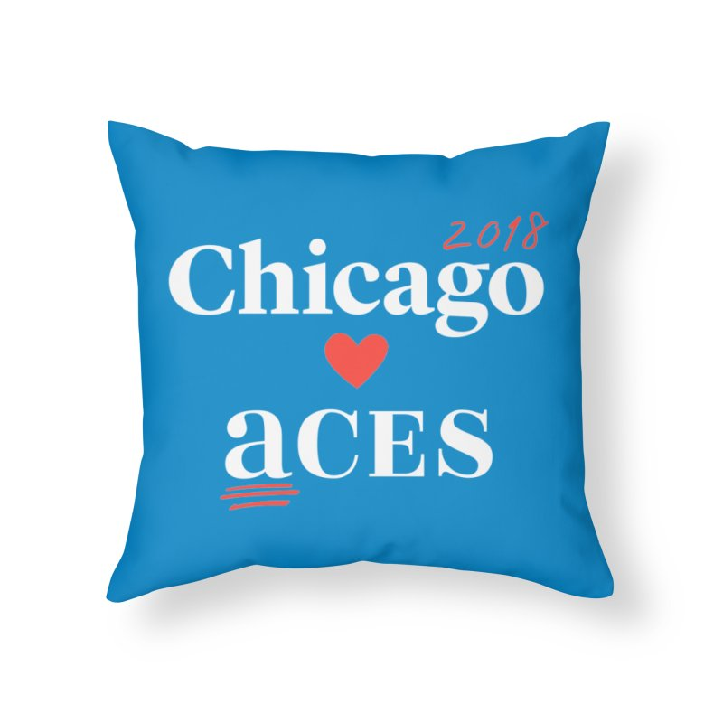 Chicago Hearts ACES 2018, Red + White Home Throw Pillow by Chicago Manual of Style