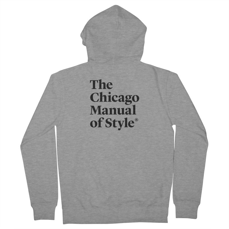 The Chicago Manual of Style, Black Logo Men's French Terry Zip-Up Hoody by Chicago Manual of Style