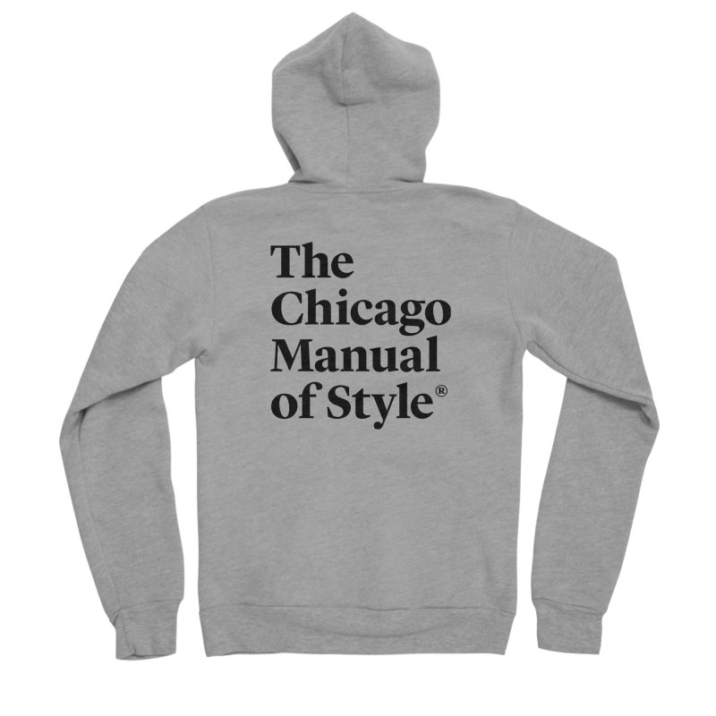 The Chicago Manual of Style, Black Logo Men's Sponge Fleece Zip-Up Hoody by Chicago Manual of Style