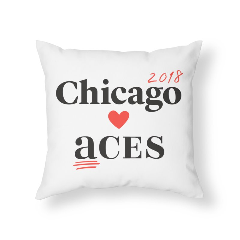 Chicago Hearts ACES 2018 Black + Red Home Throw Pillow by Chicago Manual of Style
