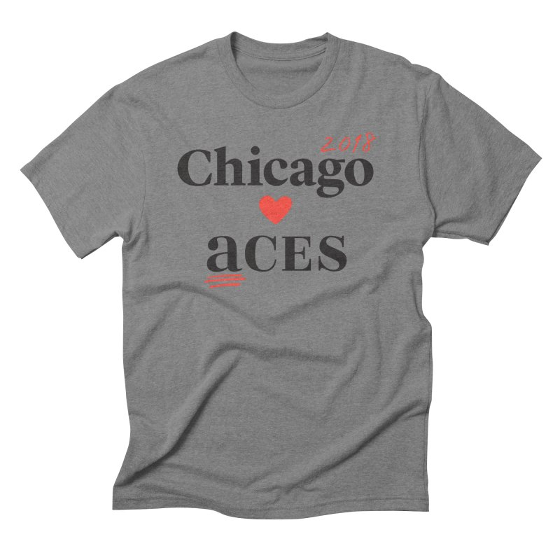 Chicago Hearts ACES 2018 Black + Red Men's Triblend T-Shirt by Chicago Manual of Style