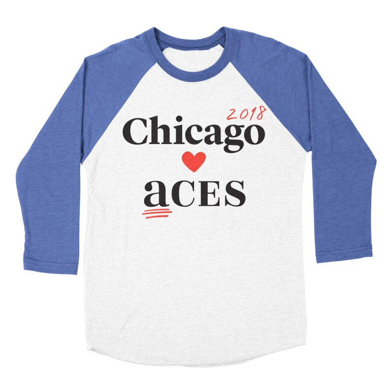 Chicago Hearts ACES 2018 Black + Red Women's Baseball Triblend T-Shirt by Chicago Manual of Style