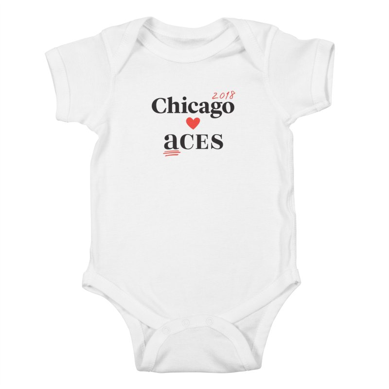 Chicago Hearts ACES 2018 Black + Red Kids Baby Bodysuit by Chicago Manual of Style